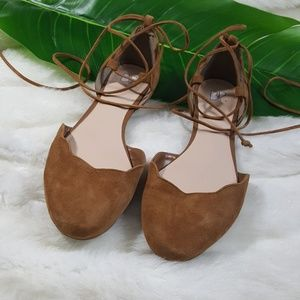 BP camel color flats with ankle tie